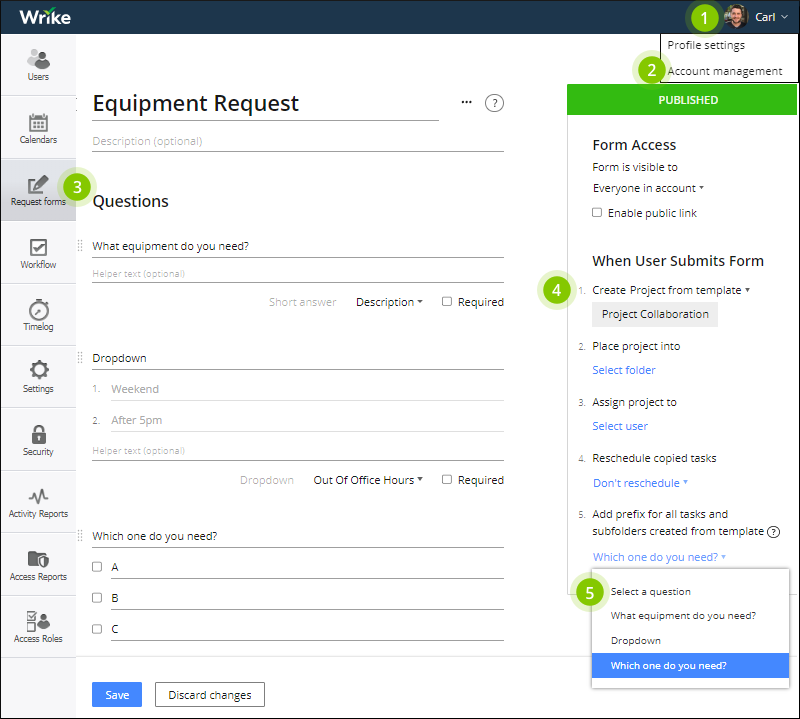 create a request form for admins wrike help portal