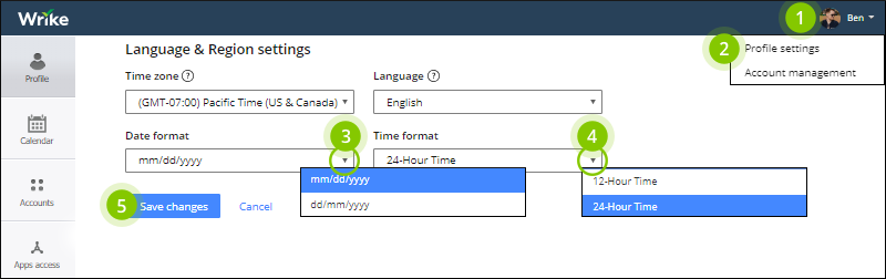 Time and Date Settings – Wrike Help portal