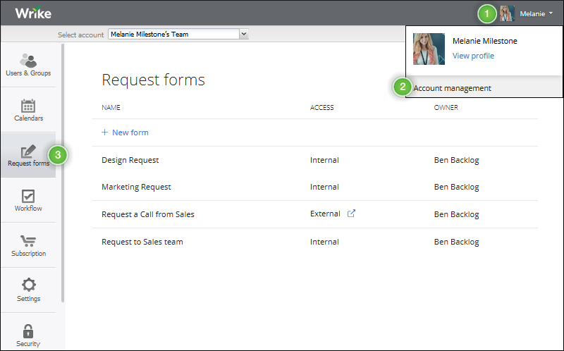 Request Forms Wrike Help portal – Request Form
